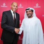 Karim Wade, Senegal's air transport minister and Emirates' Sheikh Ahmed Bin Saeed Al-Maktoum
