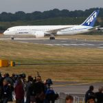 A Boeing 787 Dreamliner lands for the first time outside the US, at the Farnborough International Airshow, Farnborough, England