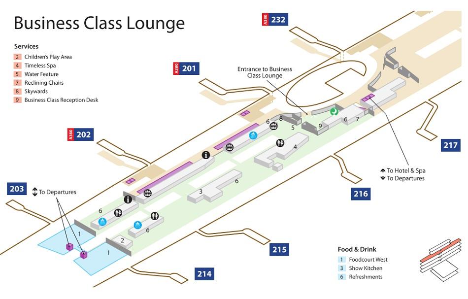 Emirates Terminal 3 Business Class Lounge Map